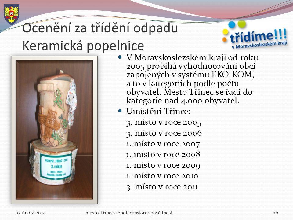Ocenění za třídění odpadu Keramická popelnice V Moravskoslezském kraji od roku 2005 probíhá vyhodnocování obcí zapojených v systému EKO-KOM, a to v kategoriích podle počtu obyvatel.