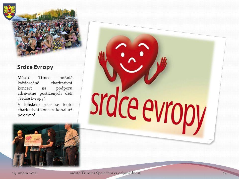 """Srdce Evropy Město Třinec pořádá každoročně charitativní koncert na podporu zdravotně postižených dětí """"Srdce Evropy ."""
