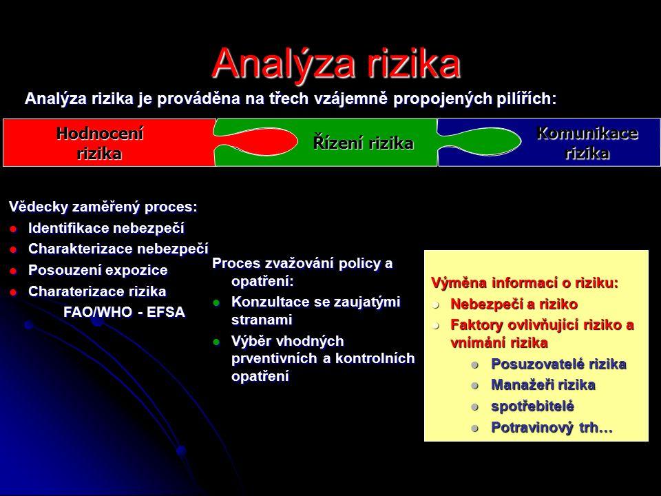 Analýza rizika Analýza rizika Vědecky zaměřený proces: Identifikace nebezpečí Identifikace nebezpečí Charakterizace nebezpečí Charakterizace nebezpečí