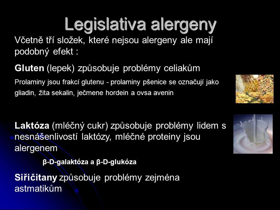 Včetně tří složek, které nejsou alergeny ale mají podobný efekt : Gluten (lepek) způsobuje problémy celiakům Prolaminy jsou frakcí glutenu - prolaminy