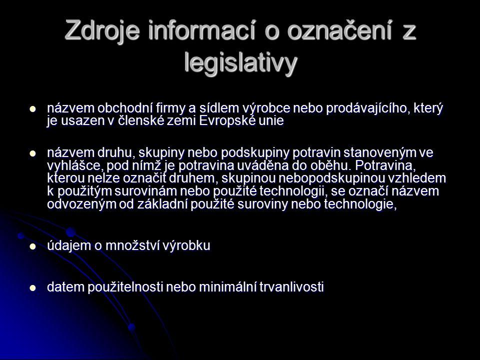 Zdroje informací o označení z legislativy názvem obchodní firmy a sídlem výrobce nebo prodávajícího, který je usazen v členské zemi Evropské unie názv