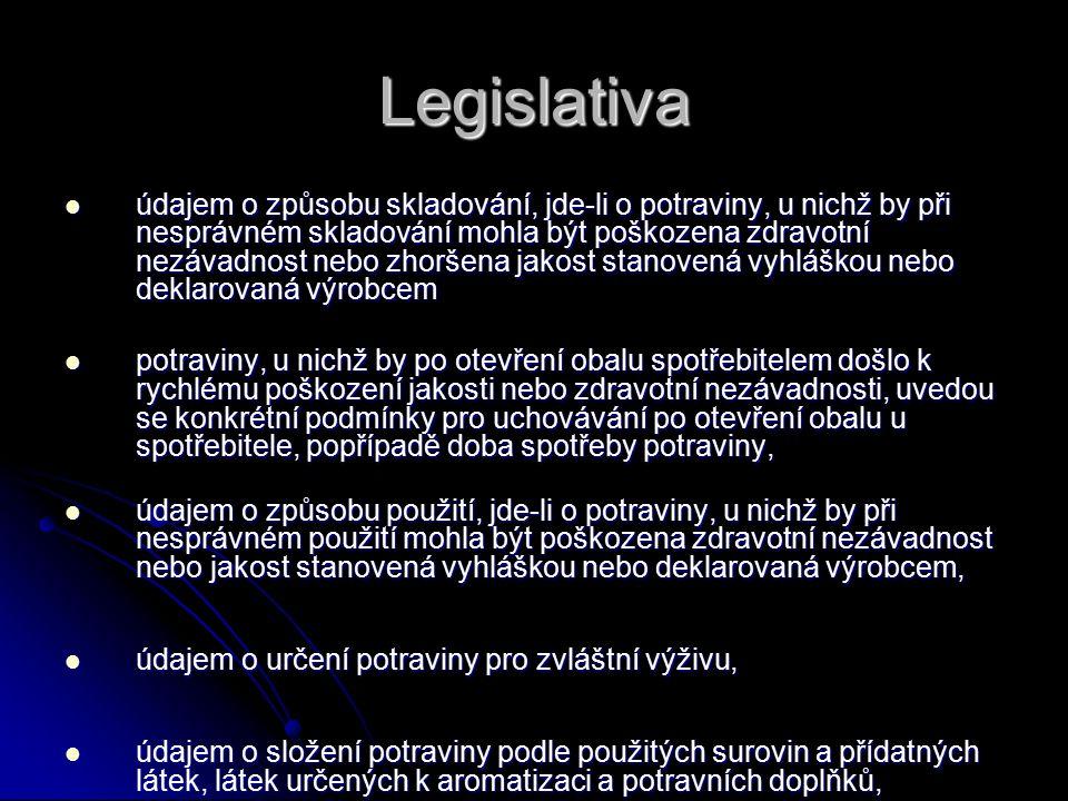Legislativa údajem o způsobu skladování, jde-li o potraviny, u nichž by při nesprávném skladování mohla být poškozena zdravotní nezávadnost nebo zhorš