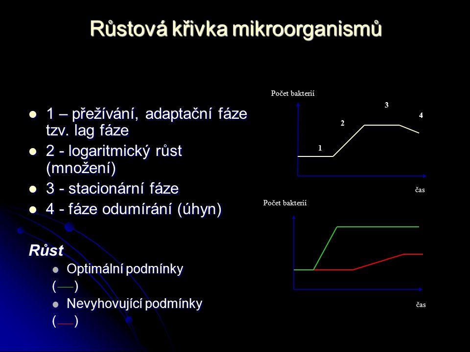 Růstová křivka mikroorganismů 1 – přežívání, adaptační fáze tzv. lag fáze 1 – přežívání, adaptační fáze tzv. lag fáze 2 - logaritmický růst (množení)