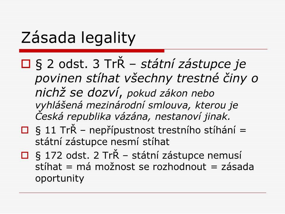 Zásada legality  § 2 odst. 3 TrŘ – státní zástupce je povinen stíhat všechny trestné činy o nichž se dozví, pokud zákon nebo vyhlášená mezinárodní sm