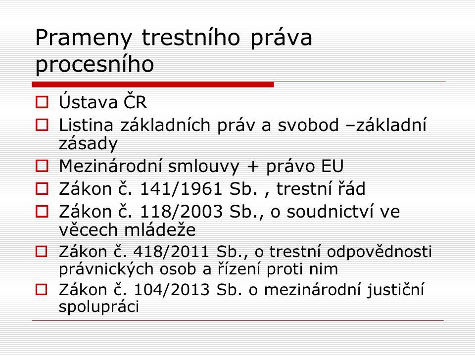 Prameny trestního práva procesního  Ústava ČR  Listina základních práv a svobod –základní zásady  Mezinárodní smlouvy + právo EU  Zákon č.