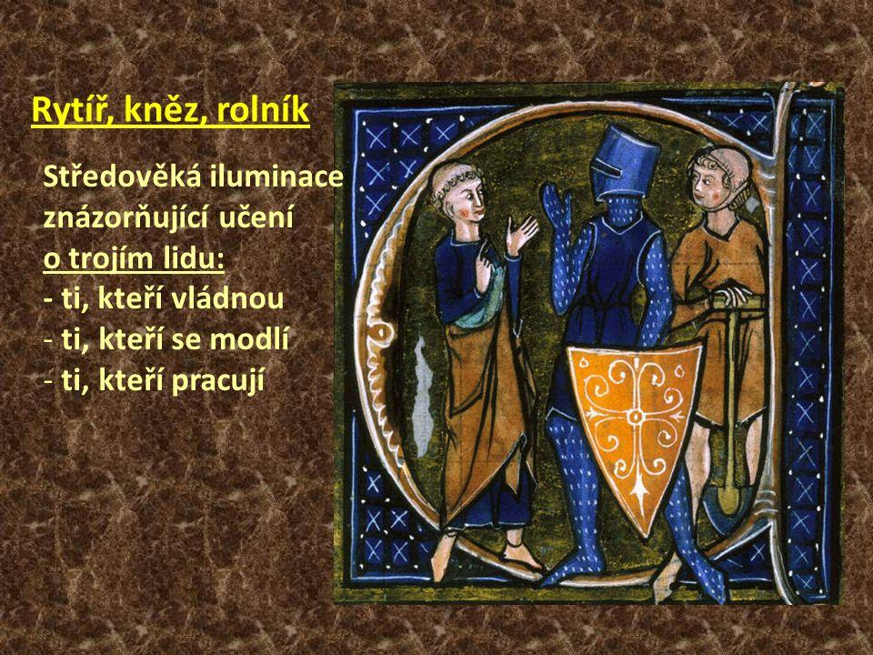 Rytíř, kněz, rolník Středověká iluminace znázorňující učení o trojím lidu: - ti, kteří vládnou - ti, kteří se modlí - ti, kteří pracují