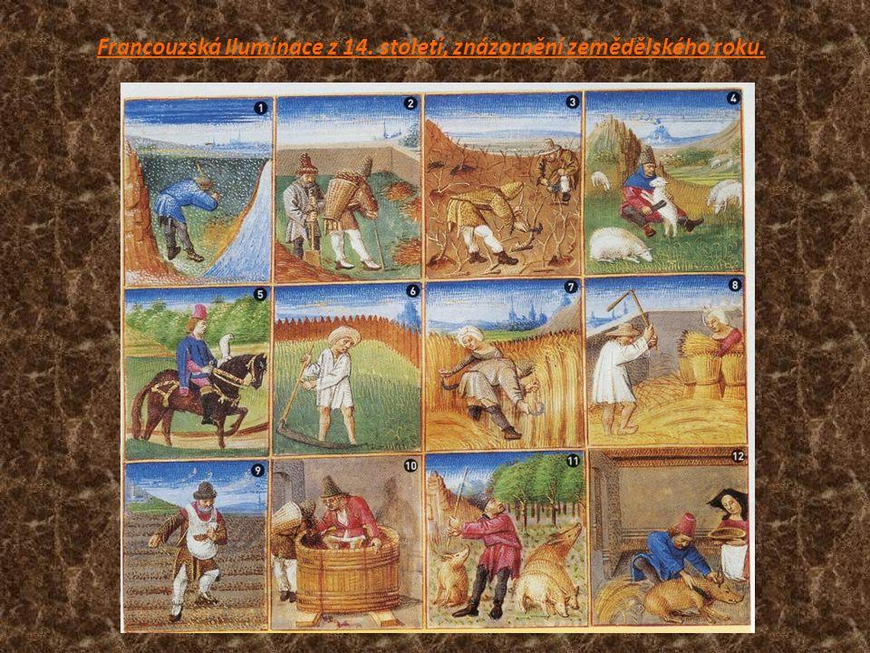 Francouzská Iluminace z 14. století, znázornění zemědělského roku.