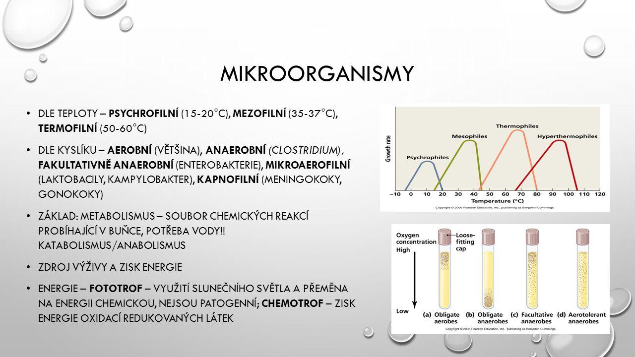 MIKROORGANISMY DLE TEPLOTY – PSYCHROFILNÍ (15-20°C), MEZOFILNÍ (35-37°C), TERMOFILNÍ (50-60°C) DLE KYSLÍKU – AEROBNÍ (VĚTŠINA), ANAEROBNÍ (CLOSTRIDIUM), FAKULTATIVNĚ ANAEROBNÍ (ENTEROBAKTERIE), MIKROAEROFILNÍ (LAKTOBACILY, KAMPYLOBAKTER), KAPNOFILNÍ (MENINGOKOKY, GONOKOKY) ZÁKLAD: METABOLISMUS – SOUBOR CHEMICKÝCH REAKCÍ PROBÍHAJÍCÍ V BUŇCE, POTŘEBA VODY!.