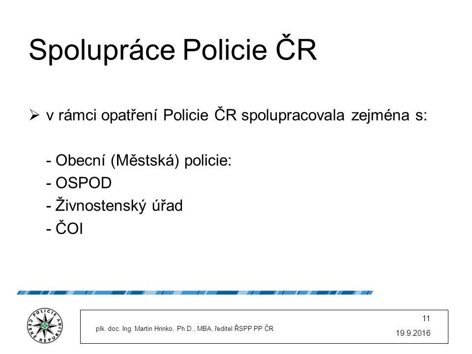 Spolupráce Policie ČR  v rámci opatření Policie ČR spolupracovala zejména s: - Obecní (Městská) policie: - OSPOD - Živnostenský úřad - ČOI 19.9.2016
