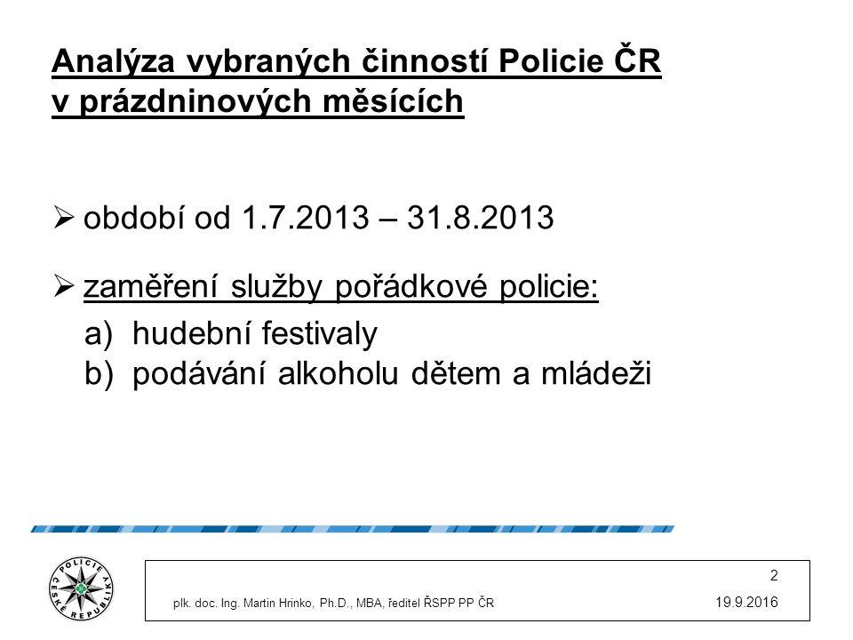 Analýza vybraných činností Policie ČR v prázdninových měsících  období od 1.7.2013 – 31.8.2013  zaměření služby pořádkové policie: a)hudební festiva
