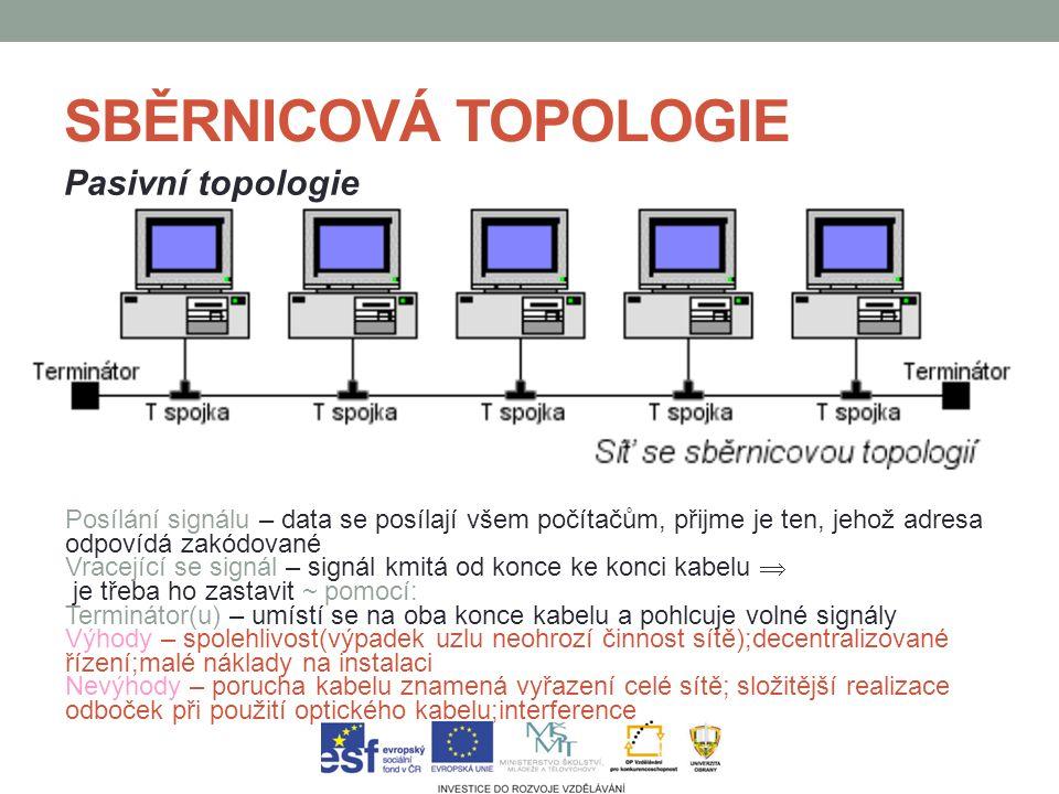 SBĚRNICOVÁ TOPOLOGIE Pasivní topologie Posílání signálu – data se posílají všem počítačům, přijme je ten, jehož adresa odpovídá zakódované Vracející se signál – signál kmitá od konce ke konci kabelu  je třeba ho zastavit ~ pomocí: Terminátor(u) – umístí se na oba konce kabelu a pohlcuje volné signály Výhody – spolehlivost(výpadek uzlu neohrozí činnost sítě);decentralizované řízení;malé náklady na instalaci Nevýhody – porucha kabelu znamená vyřazení celé sítě; složitější realizace odboček při použití optického kabelu;interference