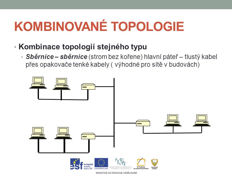 KOMBINOVANÉ TOPOLOGIE Kombinace topologií stejného typu Sběrnice – sběrnice (strom bez kořene) hlavní páteř – tlustý kabel přes opakovače tenké kabely ( výhodné pro sítě v budovách)