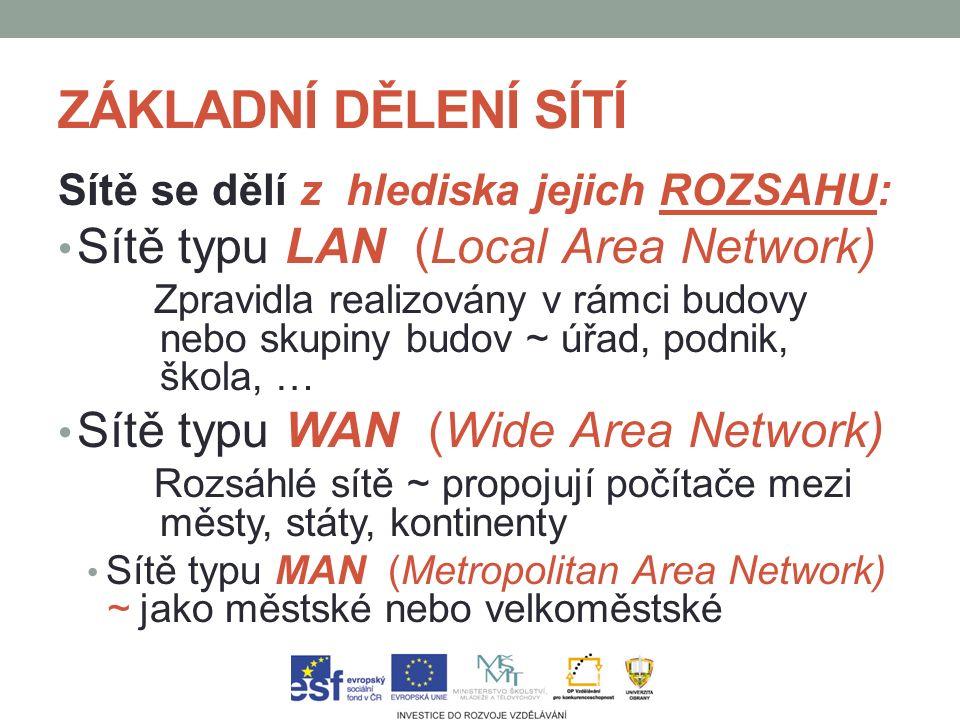ZÁKLADNÍ DĚLENÍ SÍTÍ ROZSAHU Sítě se dělí z hlediska jejich ROZSAHU: LAN Sítě typu LAN (Local Area Network) Zpravidla realizovány v rámci budovy nebo skupiny budov ~ úřad, podnik, škola, … WAN Sítě typu WAN (Wide Area Network) Rozsáhlé sítě ~ propojují počítače mezi městy, státy, kontinenty MAN Sítě typu MAN (Metropolitan Area Network) ~ jako městské nebo velkoměstské