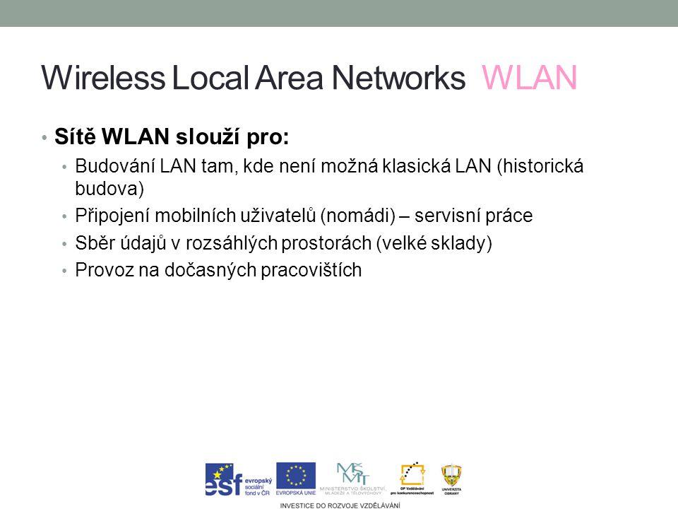 Wireless Local Area Networks WLAN Sítě WLAN slouží pro: Budování LAN tam, kde není možná klasická LAN (historická budova) Připojení mobilních uživatelů (nomádi) – servisní práce Sběr údajů v rozsáhlých prostorách (velké sklady) Provoz na dočasných pracovištích