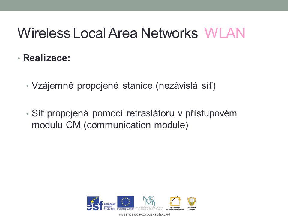 Wireless Local Area Networks WLAN Realizace: Vzájemně propojené stanice (nezávislá síť) Síť propojená pomocí retraslátoru v přístupovém modulu CM (communication module)
