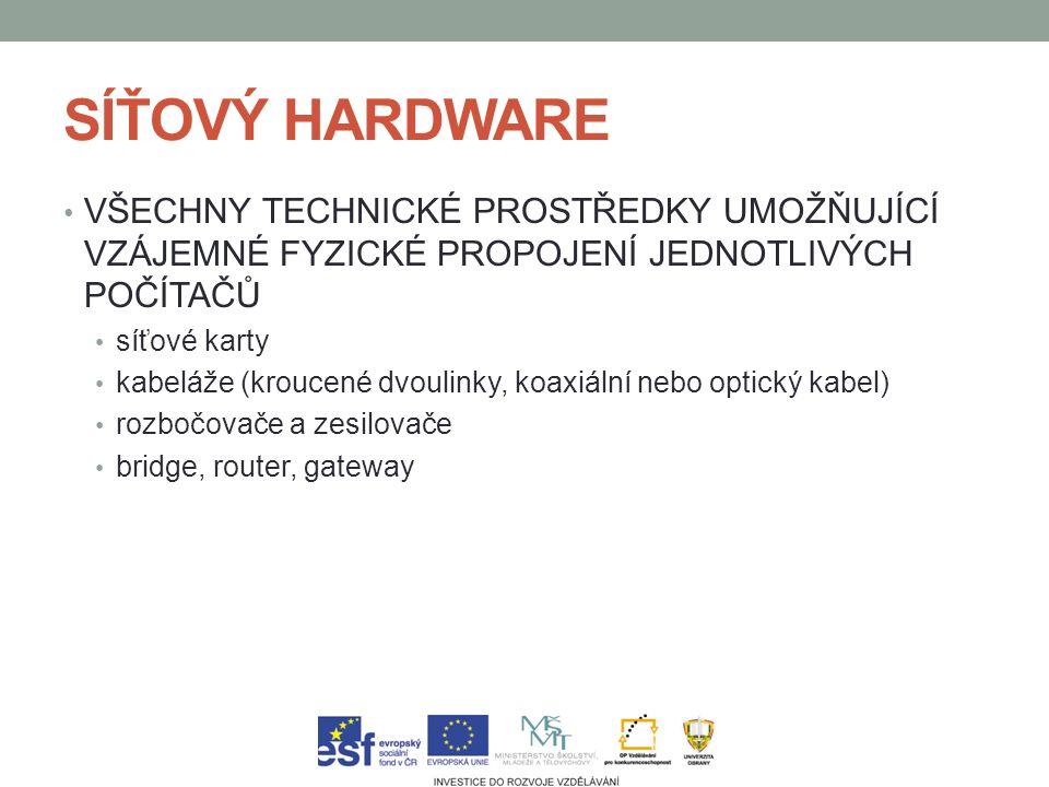 SÍŤOVÝ HARDWARE VŠECHNY TECHNICKÉ PROSTŘEDKY UMOŽŇUJÍCÍ VZÁJEMNÉ FYZICKÉ PROPOJENÍ JEDNOTLIVÝCH POČÍTAČŮ síťové karty kabeláže (kroucené dvoulinky, koaxiální nebo optický kabel) rozbočovače a zesilovače bridge, router, gateway