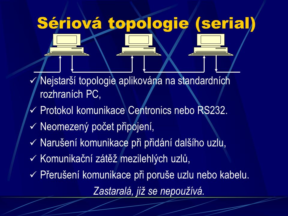 Sériová topologie (serial) Nejstarší topologie aplikována na standardních rozhraních PC, Protokol komunikace Centronics nebo RS232.