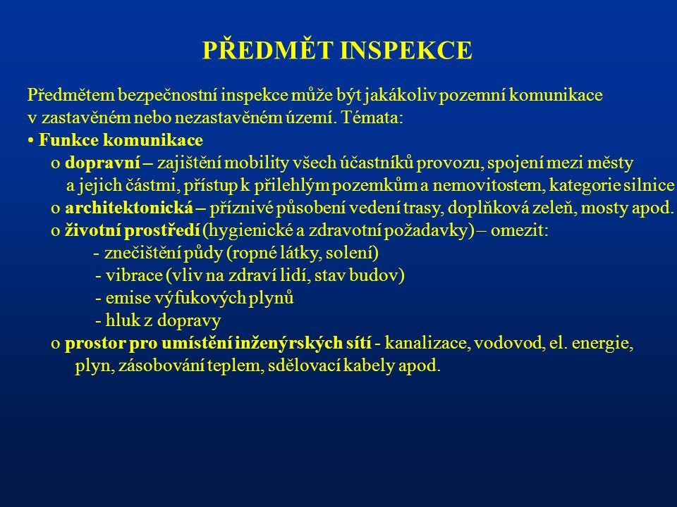 PŘEDMĚT INSPEKCE Předmětem bezpečnostní inspekce může být jakákoliv pozemní komunikace v zastavěném nebo nezastavěném území. Témata: Funkce komunikace