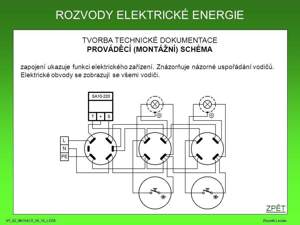 VY_52_INOVACE_05_15_LEZB Zbyněk Lecián TVORBA TECHNICKÉ DOKUMENTACE PROVÁDĚCÍ (MONTÁŽNÍ) SCHÉMA zapojení ukazuje funkci elektrického zařízení.