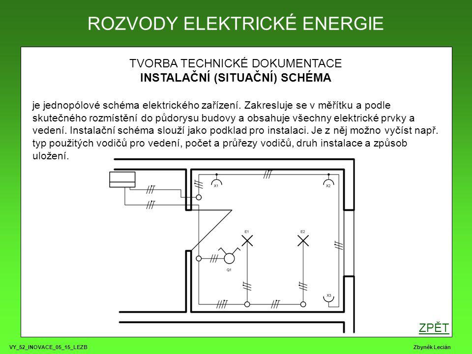 VY_52_INOVACE_05_15_LEZB Zbyněk Lecián TVORBA TECHNICKÉ DOKUMENTACE INSTALAČNÍ (SITUAČNÍ) SCHÉMA je jednopólové schéma elektrického zařízení.