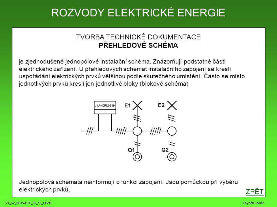 VY_52_INOVACE_05_15_LEZB Zbyněk Lecián TVORBA TECHNICKÉ DOKUMENTACE PŘEHLEDOVÉ SCHÉMA je zjednodušené jednopólové instalační schéma.