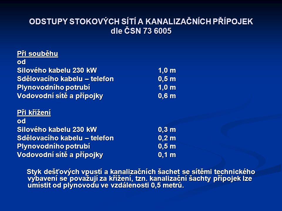 ODSTUPY STOKOVÝCH SÍTÍ A KANALIZAČNÍCH PŘÍPOJEK dle ČSN 73 6005 Při souběhu od Silového kabelu 230 kW1,0 m Sdělovacího kabelu – telefon0,5 m Plynovodního potrubí1,0 m Vodovodní sítě a přípojky0,6 m Při křížení od Silového kabelu 230 kW0,3 m Sdělovacího kabelu – telefon0,2 m Plynovodního potrubí0,5 m Vodovodní sítě a přípojky0,1 m Styk dešťových vpustí a kanalizačních šachet se sítěmi technického vybavení se považují za křížení, tzn.