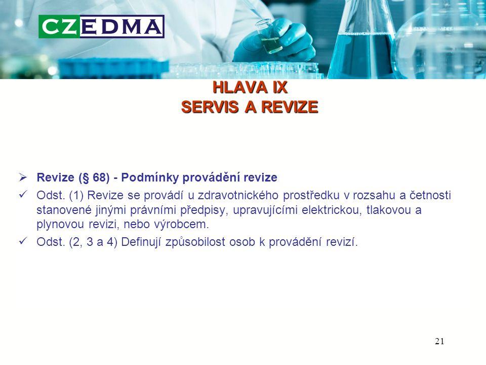HLAVA IX SERVIS A REVIZE  Revize (§ 68) - Podmínky provádění revize Odst.