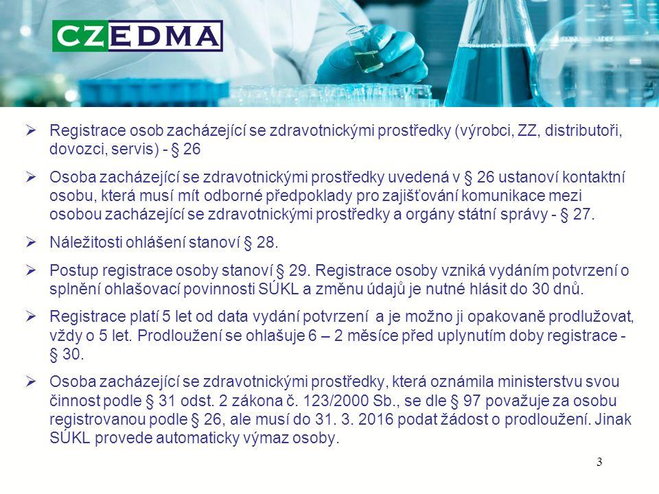  Registrace osob zacházející se zdravotnickými prostředky (výrobci, ZZ, distributoři, dovozci, servis) - § 26  Osoba zacházející se zdravotnickými prostředky uvedená v § 26 ustanoví kontaktní osobu, která musí mít odborné předpoklady pro zajišťování komunikace mezi osobou zacházející se zdravotnickými prostředky a orgány státní správy - § 27.