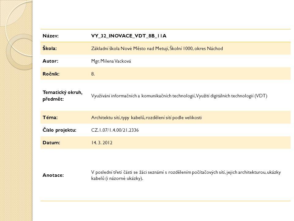 Název:VY_32_INOVACE_VDT_8B_11A Škola:Základní škola Nové Město nad Metují, Školní 1000, okres Náchod Autor:Mgr.