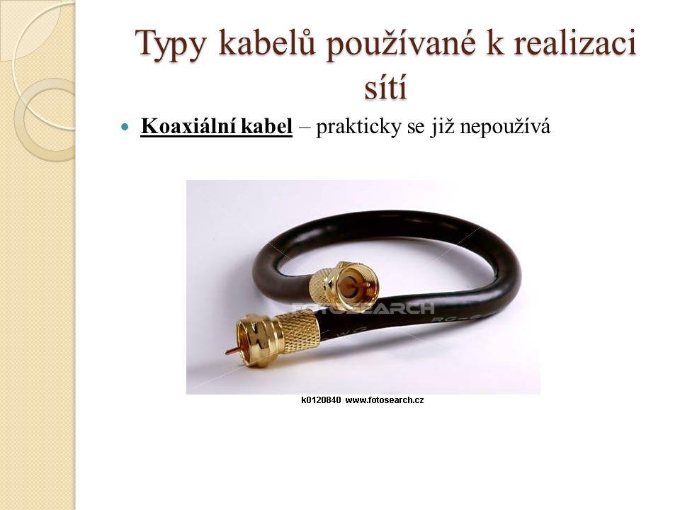Typy kabelů používané k realizaci sítí Koaxiální kabel – prakticky se již nepoužívá