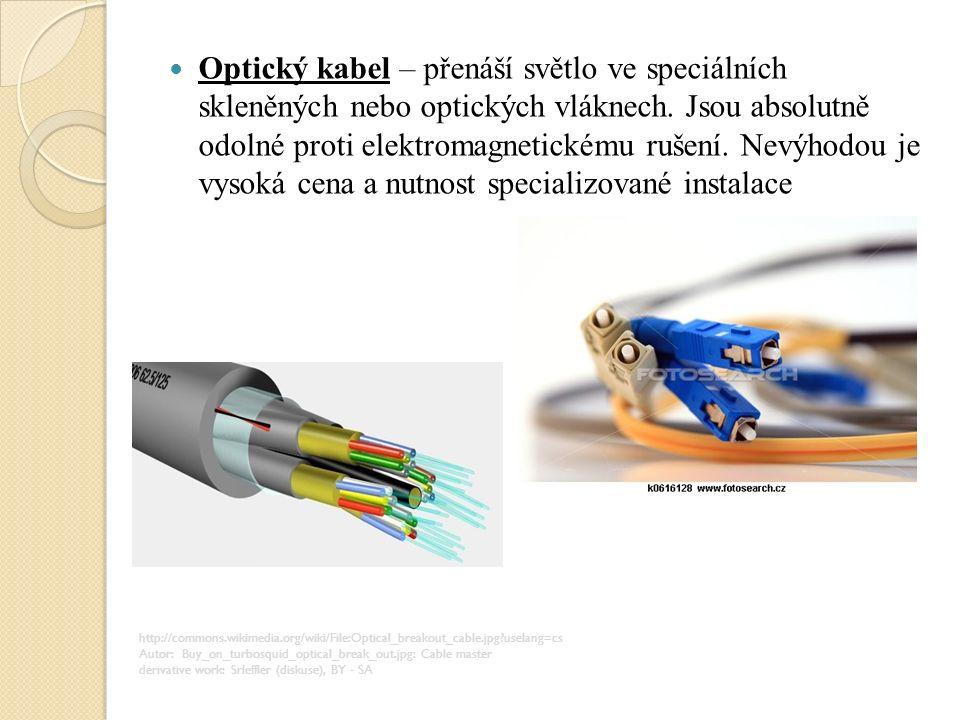Optický kabel – přenáší světlo ve speciálních skleněných nebo optických vláknech.
