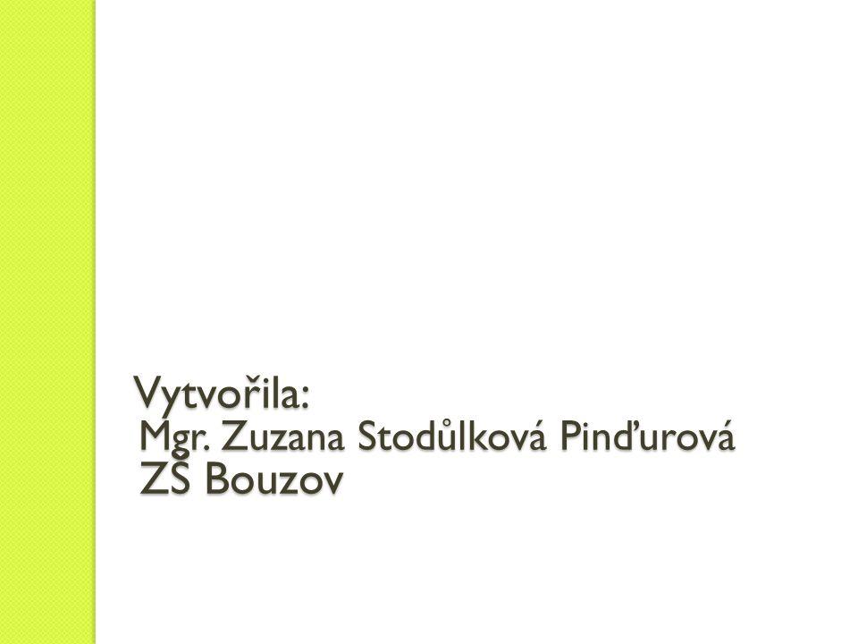 Vytvořila: Mgr. Zuzana Stodůlková Pinďurová ZŠ Bouzov Vytvořila: Mgr.