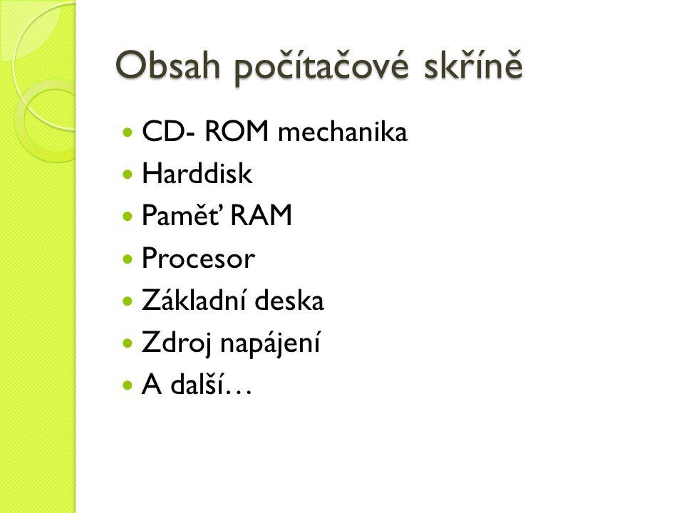 Obsah počítačové skříně CD- ROM mechanika Harddisk Paměť RAM Procesor Základní deska Zdroj napájení A další…