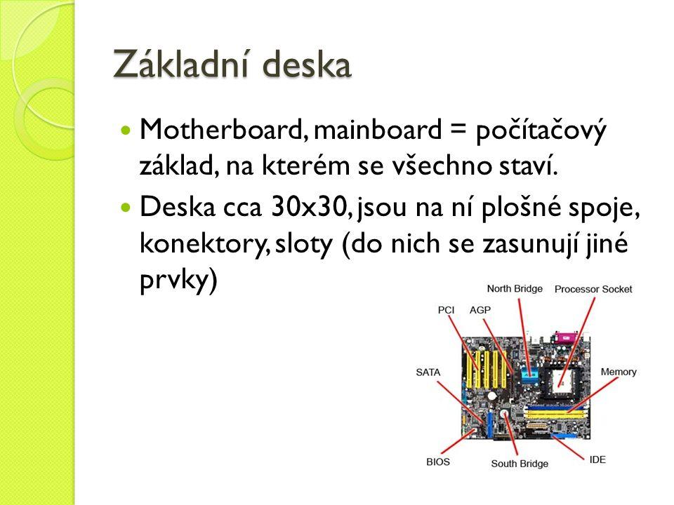 Základní deska Motherboard, mainboard = počítačový základ, na kterém se všechno staví.