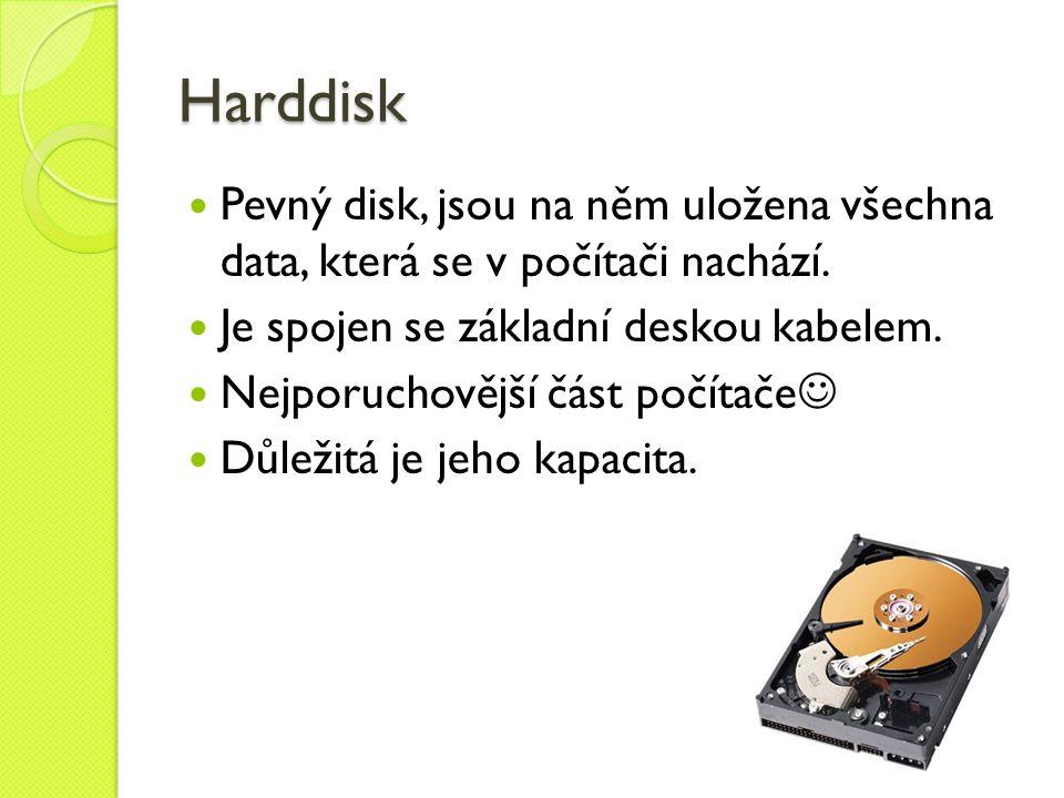 Harddisk Pevný disk, jsou na něm uložena všechna data, která se v počítači nachází.