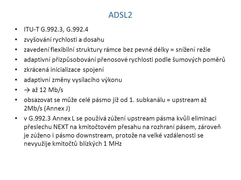 ADSL2 ITU-T G.992.3, G.992.4 zvyšování rychlosti a dosahu zavedení flexibilní struktury rámce bez pevné délky = snížení režie adaptivní přizpůsobování přenosové rychlosti podle šumových poměrů zkrácená inicializace spojení adaptivní změny vysílacího výkonu → až 12 Mb/s obsazovat se může celé pásmo již od 1.