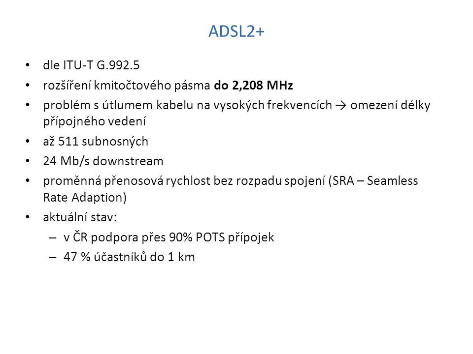 ADSL2+ dle ITU-T G.992.5 rozšíření kmitočtového pásma do 2,208 MHz problém s útlumem kabelu na vysokých frekvencích → omezení délky přípojného vedení až 511 subnosných 24 Mb/s downstream proměnná přenosová rychlost bez rozpadu spojení (SRA – Seamless Rate Adaption) aktuální stav: – v ČR podpora přes 90% POTS přípojek – 47 % účastníků do 1 km