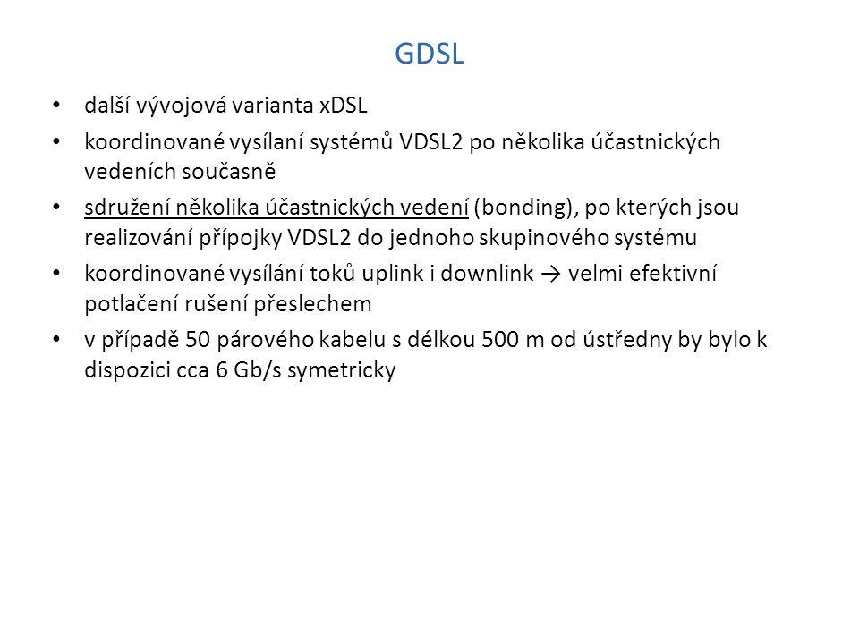 GDSL další vývojová varianta xDSL koordinované vysílaní systémů VDSL2 po několika účastnických vedeních současně sdružení několika účastnických vedení (bonding), po kterých jsou realizování přípojky VDSL2 do jednoho skupinového systému koordinované vysílání toků uplink i downlink → velmi efektivní potlačení rušení přeslechem v případě 50 párového kabelu s délkou 500 m od ústředny by bylo k dispozici cca 6 Gb/s symetricky