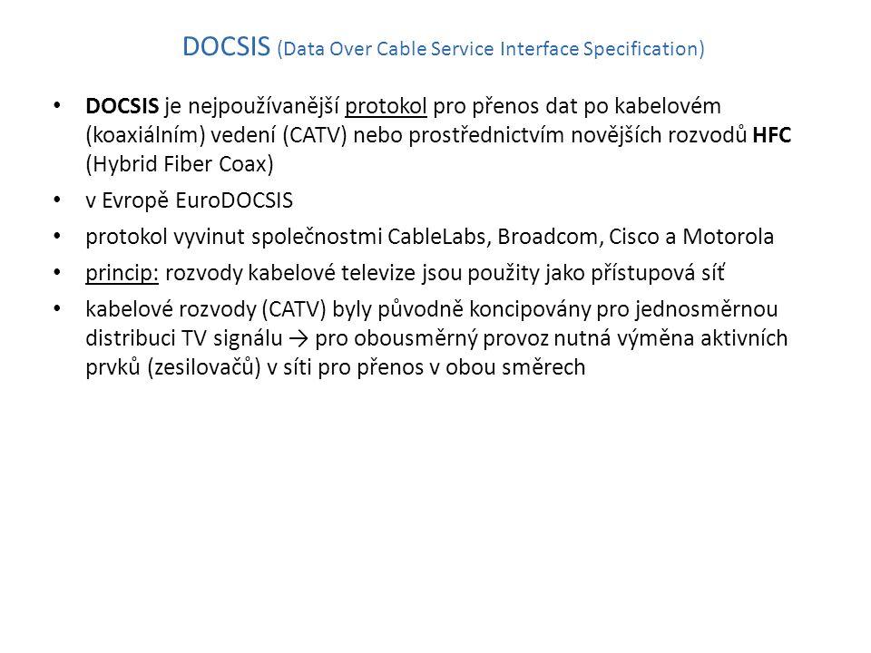 DOCSIS (Data Over Cable Service Interface Specification) DOCSIS je nejpoužívanější protokol pro přenos dat po kabelovém (koaxiálním) vedení (CATV) nebo prostřednictvím novějších rozvodů HFC (Hybrid Fiber Coax) v Evropě EuroDOCSIS protokol vyvinut společnostmi CableLabs, Broadcom, Cisco a Motorola princip: rozvody kabelové televize jsou použity jako přístupová síť kabelové rozvody (CATV) byly původně koncipovány pro jednosměrnou distribuci TV signálu → pro obousměrný provoz nutná výměna aktivních prvků (zesilovačů) v síti pro přenos v obou směrech