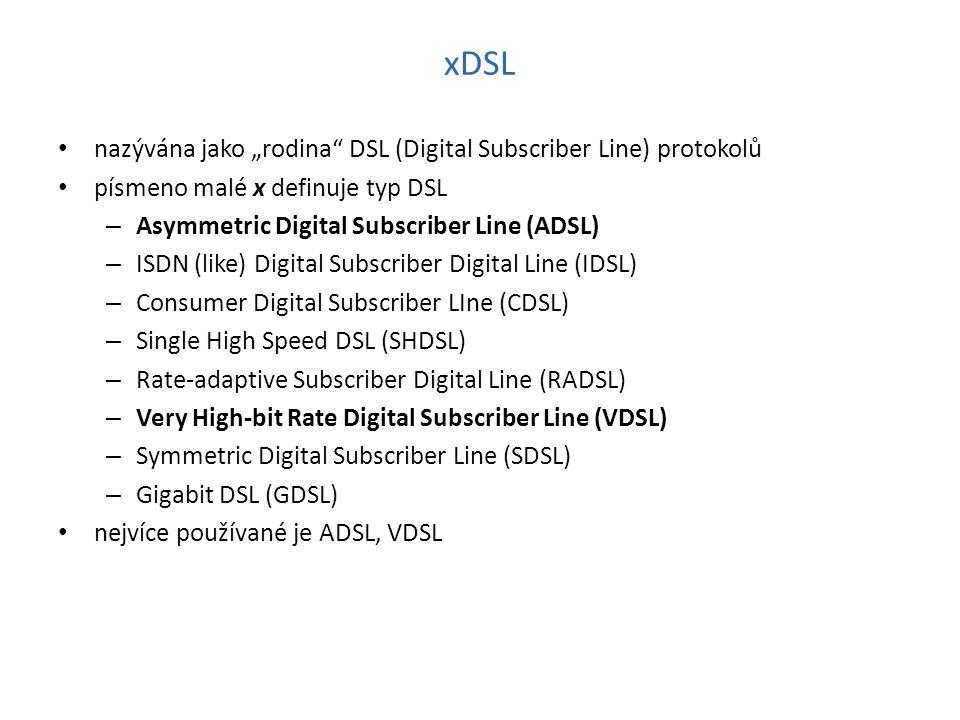 Tab.: Vlastnosti nejběžnějších xDSL standardů