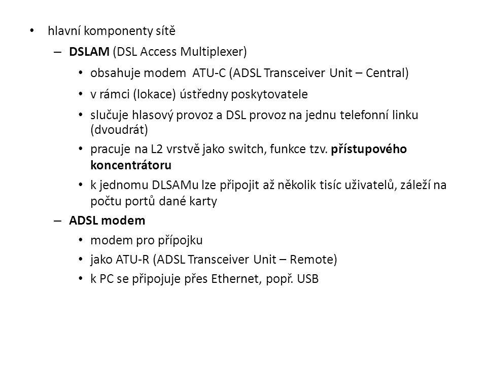 hlavní komponenty sítě – DSLAM (DSL Access Multiplexer) obsahuje modem ATU-C (ADSL Transceiver Unit – Central) v rámci (lokace) ústředny poskytovatele slučuje hlasový provoz a DSL provoz na jednu telefonní linku (dvoudrát) pracuje na L2 vrstvě jako switch, funkce tzv.