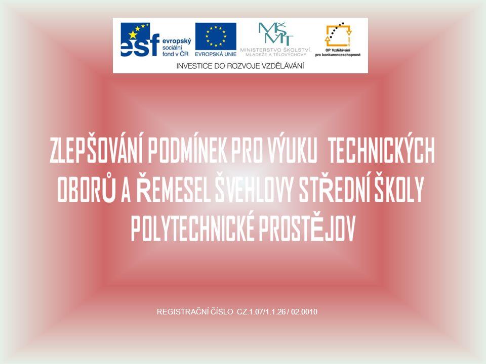 REGISTRAČNÍ ČÍSLO CZ.1.07/1.1.26 / 02.0010