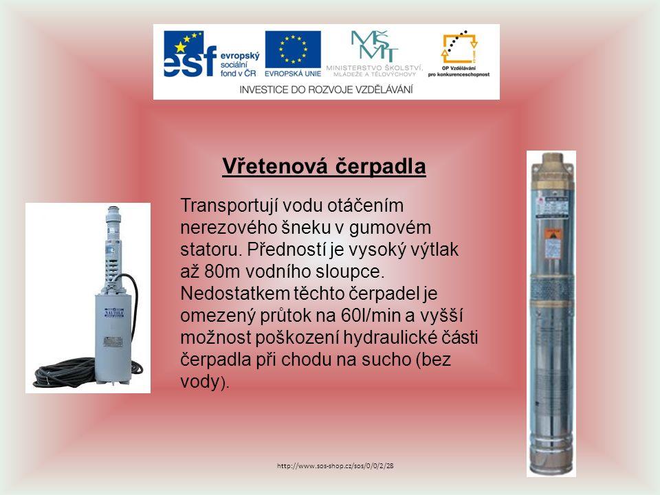 Vibrační čerpadla Místo elektromotoru mají elektromagnet, který v rytmu síťového kmitočtu přitahuje ocelovou kotvu, uloženou v gumě a vhání tak vodu do potrubí.