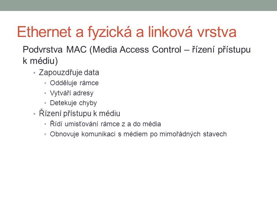 Podvrstva MAC (Media Access Control – řízení přístupu k médiu) Zapouzdřuje data Odděluje rámce Vytváří adresy Detekuje chyby Řízení přístupu k médiu Řídí umisťování rámce z a do média Obnovuje komunikaci s médiem po mimořádných stavech Ethernet a fyzická a linková vrstva