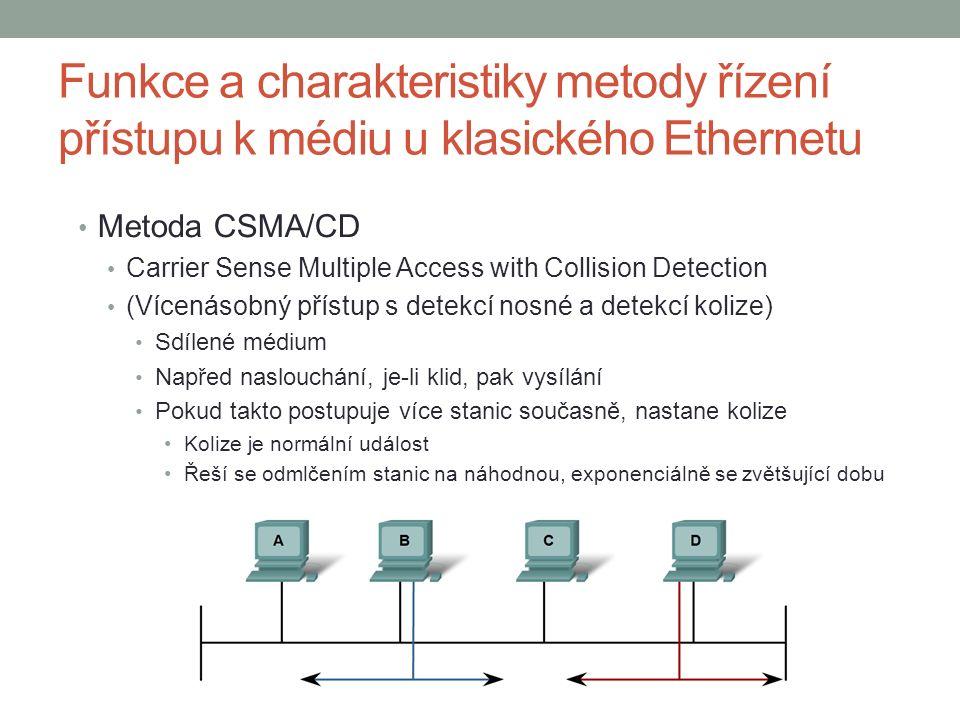 Funkce a charakteristiky metody řízení přístupu k médiu u klasického Ethernetu Metoda CSMA/CD Carrier Sense Multiple Access with Collision Detection (Vícenásobný přístup s detekcí nosné a detekcí kolize) Sdílené médium Napřed naslouchání, je-li klid, pak vysílání Pokud takto postupuje více stanic současně, nastane kolize Kolize je normální událost Řeší se odmlčením stanic na náhodnou, exponenciálně se zvětšující dobu