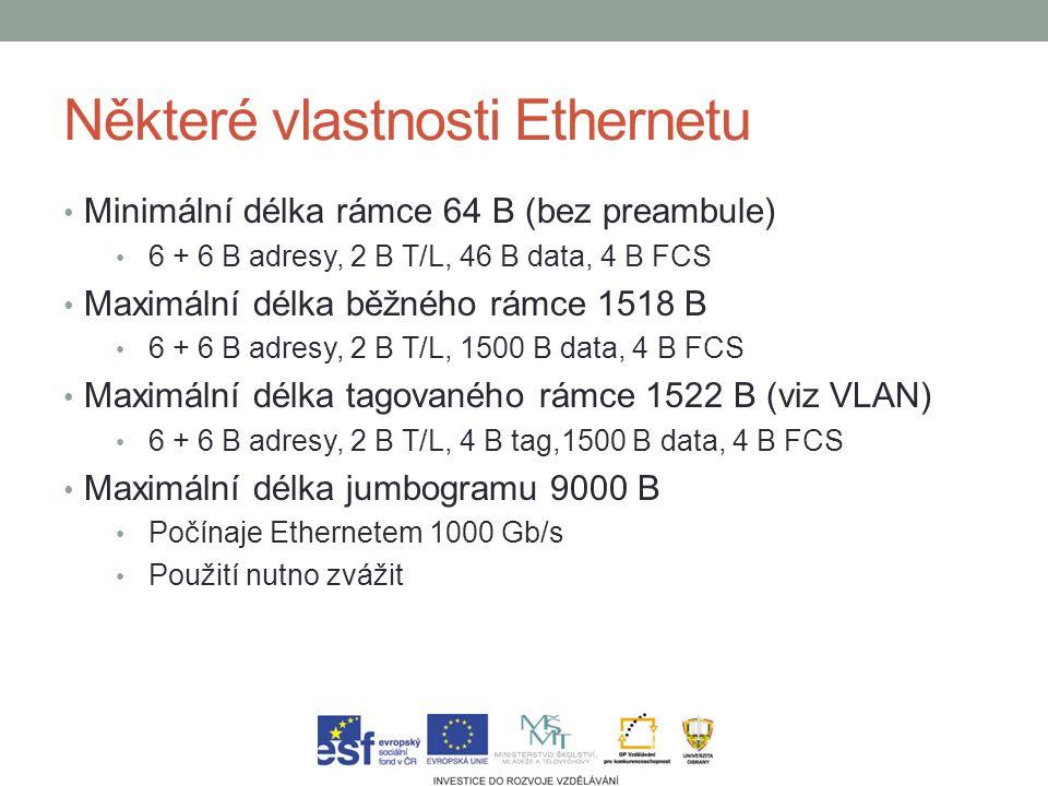 Některé vlastnosti Ethernetu Minimální délka rámce 64 B (bez preambule) 6 + 6 B adresy, 2 B T/L, 46 B data, 4 B FCS Maximální délka běžného rámce 1518 B 6 + 6 B adresy, 2 B T/L, 1500 B data, 4 B FCS Maximální délka tagovaného rámce 1522 B (viz VLAN) 6 + 6 B adresy, 2 B T/L, 4 B tag,1500 B data, 4 B FCS Maximální délka jumbogramu 9000 B Počínaje Ethernetem 1000 Gb/s Použití nutno zvážit