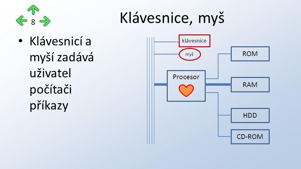 Klávesnicí a myší zadává uživatel počítači příkazy Klávesnice, myš 8 Procesor ROM RAM HDD CD-ROM klávesnice myš