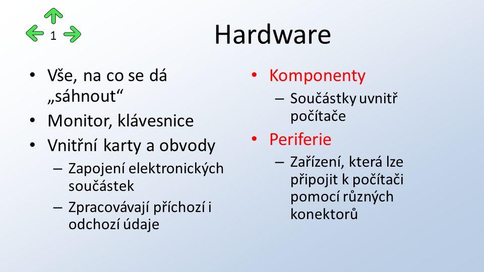 """Hardware Vše, na co se dá """"sáhnout Monitor, klávesnice Vnitřní karty a obvody – Zapojení elektronických součástek – Zpracovávají příchozí i odchozí údaje Komponenty – Součástky uvnitř počítače Periferie – Zařízení, která lze připojit k počítači pomocí různých konektorů 1"""