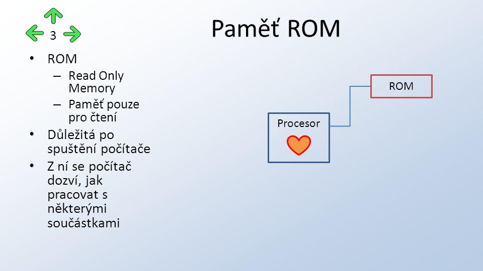 ROM – Read Only Memory – Paměť pouze pro čtení Důležitá po spuštění počítače Z ní se počítač dozví, jak pracovat s některými součástkami Paměť ROM 3 Procesor ROM