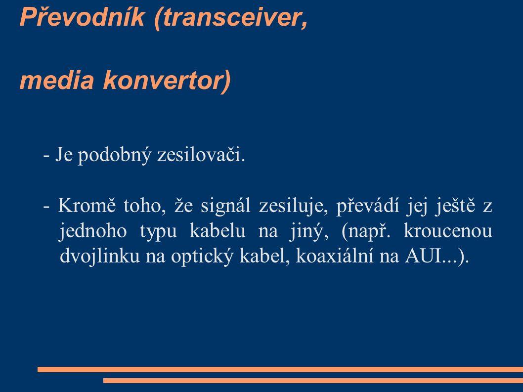 Převodník (transceiver, media konvertor) - Je podobný zesilovači.